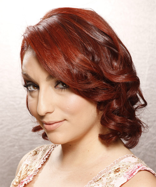 Medium Curly Formal    Hairstyle   - Dark Bright Red Hair Color - Side on View