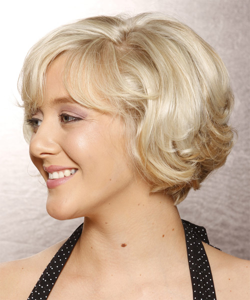 Short Wavy Formal   Hairstyle with Side Swept Bangs  - Light Blonde (Platinum) - Side on View