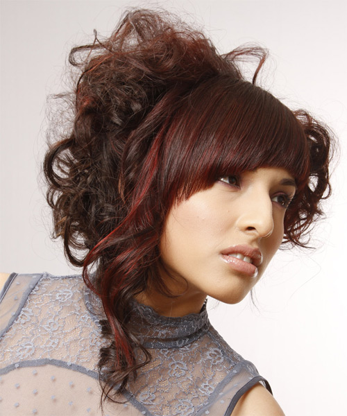 Long Curly Formal  Emo Updo Hairstyle with Blunt Cut Bangs  - Dark Auburn Brunette Hair Color with Dark Red Highlights - Side on View