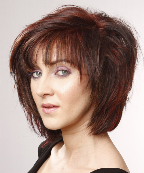 Medium Straight    Mahogany Red   Hairstyle   - Side on View