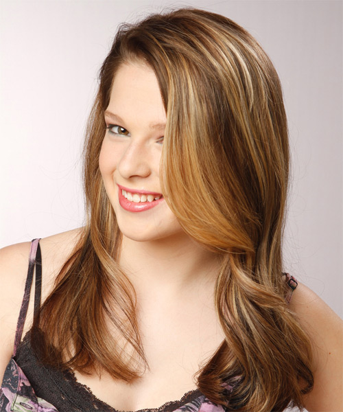 Long Straight Formal    Hairstyle   - Medium Chestnut Brunette Hair Color with Light Blonde Highlights - Side on View