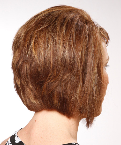 Medium Straight    Copper Brunette Bob  Haircut with Side Swept Bangs  and  Blonde Highlights - Side on View