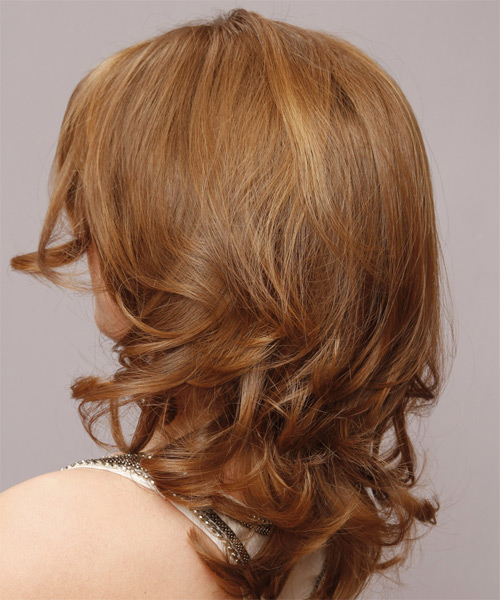 Medium Wavy   Light Caramel Brunette   Hairstyle   - Side on View