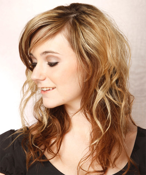 Long Wavy Casual   Hairstyle   - Light Brunette (Caramel) - Side on View