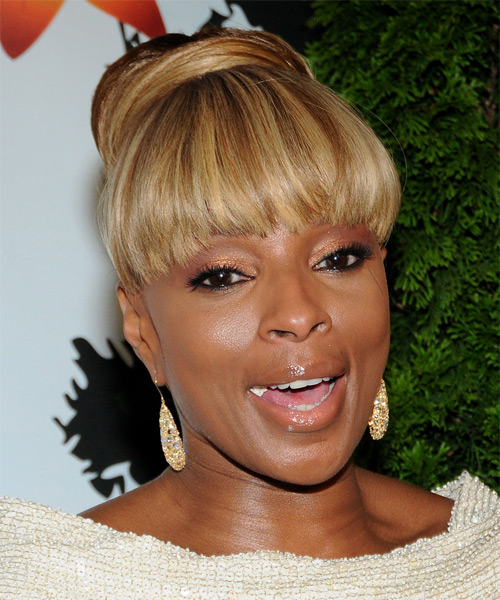 Mary J. Blige Updo Long Straight Formal  Updo Hairstyle with Blunt Cut Bangs  - Medium Brunette (Golden) - Side on View