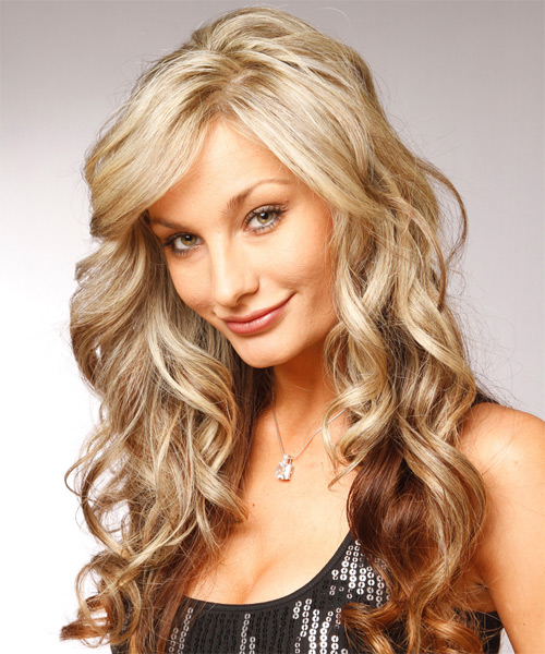 Long Wavy Formal    Hairstyle with Side Swept Bangs  - Light Champagne Blonde and Medium Brunette Two-Tone Hair Color - Side on View