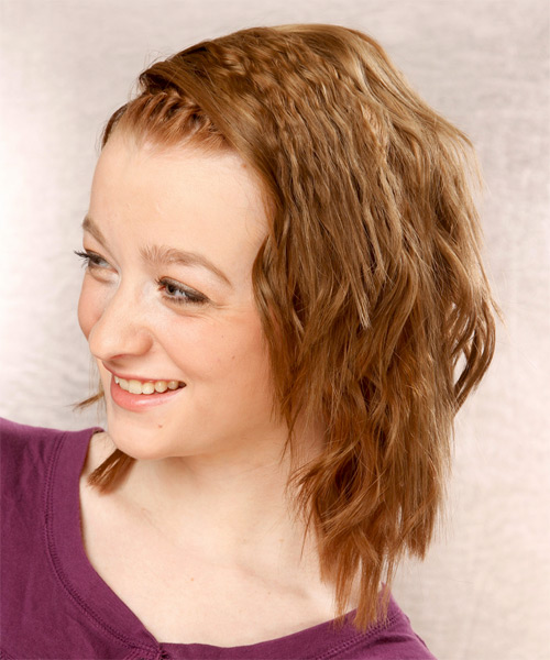 Medium Wavy Casual Braided  Hairstyle   - Dark Blonde (Golden) - Side on View