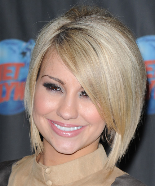 Chelsea Kane Medium Straight Formal  Bob  Hairstyle with Side Swept Bangs  - Light Blonde Hair Color - Side on View