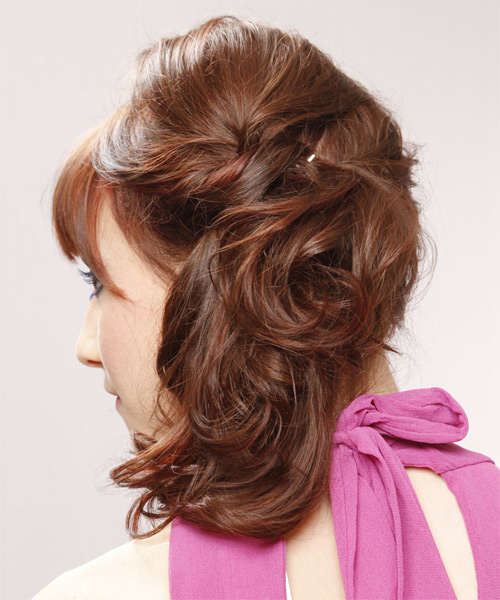 Updo Long Curly Formal  Updo Hairstyle with Blunt Cut Bangs  (Chestnut) - Side on View