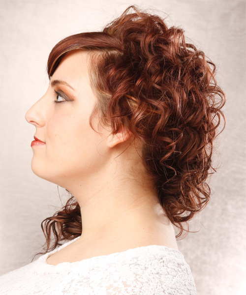 Medium Curly Formal    Hairstyle with Side Swept Bangs  - Medium Red Hair Color with Light Blonde Highlights - Side on View
