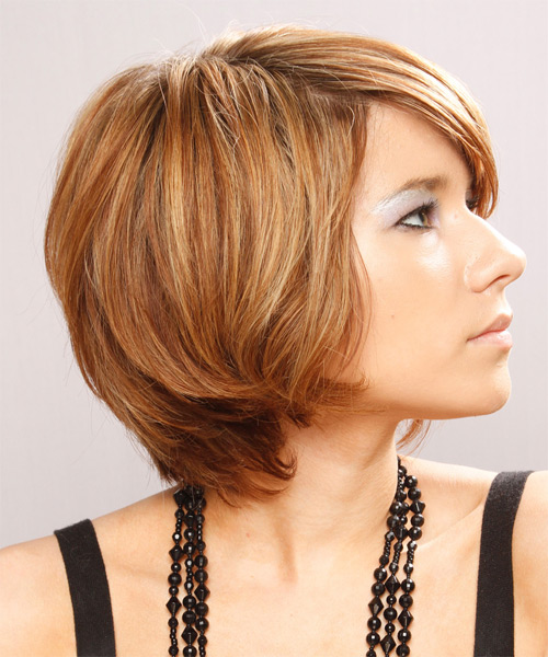 Short Straight Casual    Hairstyle with Side Swept Bangs  - Light Copper Brunette Hair Color with Light Blonde Highlights - Side on View