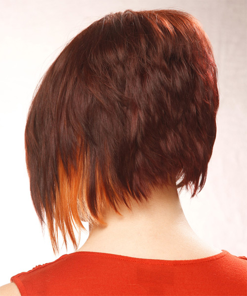 Short Straight Alternative  Asymmetrical  Hairstyle   - Dark Mahogany Red Hair Color with Orange Highlights - Side on View