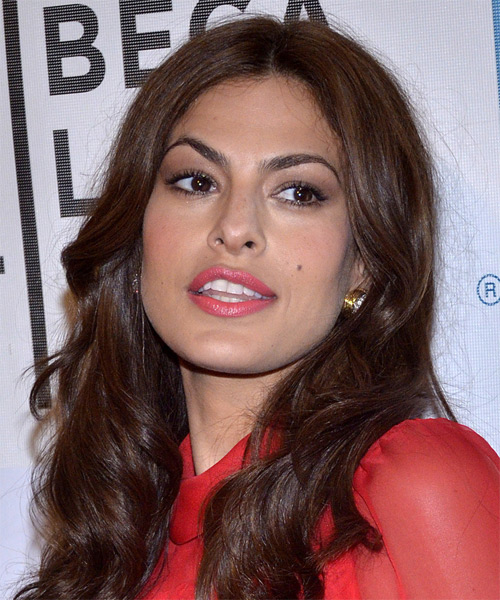 Eva Mendes Long Wavy Casual   Hairstyle   - Medium Brunette (Chocolate) - Side on View