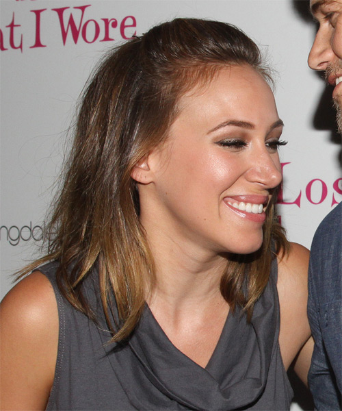 Haylie Duff Half Up Long Straight Casual  Half Up Hairstyle   - Medium Brunette - Side on View