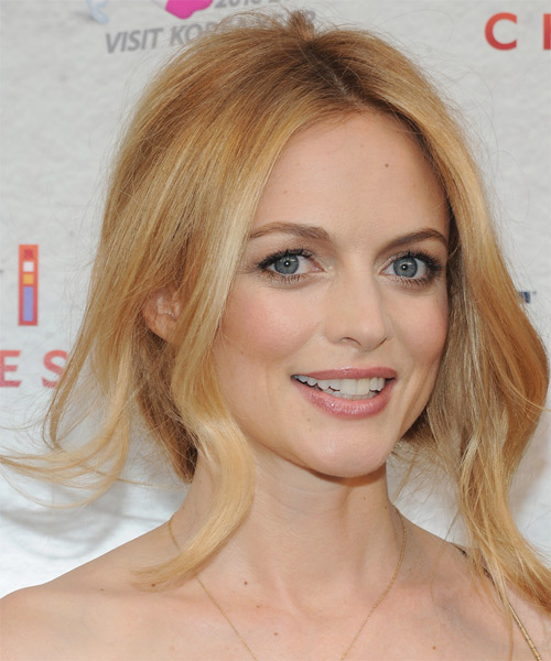 Heather Graham  Long Curly    Copper Blonde  Updo    with Light Blonde Highlights - Side on View