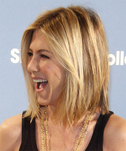 Jennifer Aniston Medium Straight    Golden Blonde   Hairstyle   with Light Blonde Highlights - Side on View