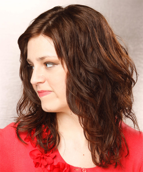 Long Wavy Casual   Hairstyle   - Medium Brunette (Chocolate) - Side on View