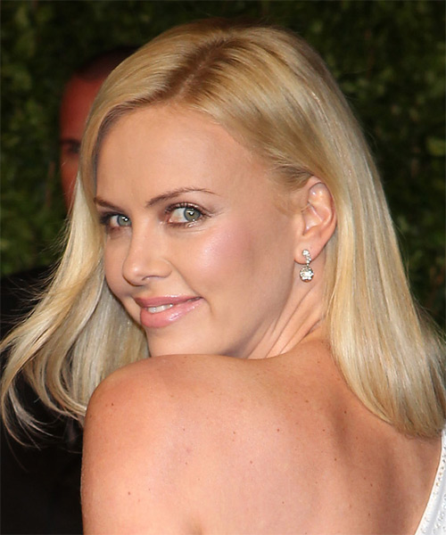 Charlize Theron Long Straight    Golden Blonde   Hairstyle   with Light Blonde Highlights - Side on View