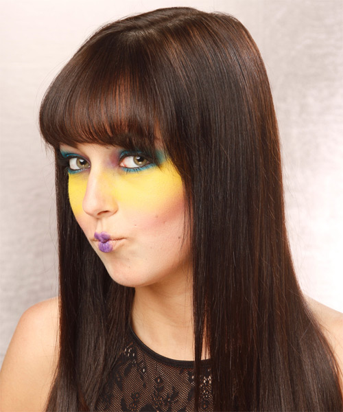 Long Straight Formal   Hairstyle with Blunt Cut Bangs  - Dark Brunette - Side on View