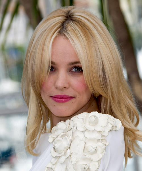 Rachel McAdams Long Straight   Light Blonde   Hairstyle   with  Blonde Highlights - Side on View