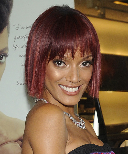 Selita Ebanks Short Straight   Dark Burgundy Red Bob  Haircut with Blunt Cut Bangs  - Side on View