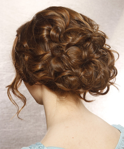 Updo Long Curly Formal  Updo Hairstyle with Side Swept Bangs  - Medium Brunette - Side on View