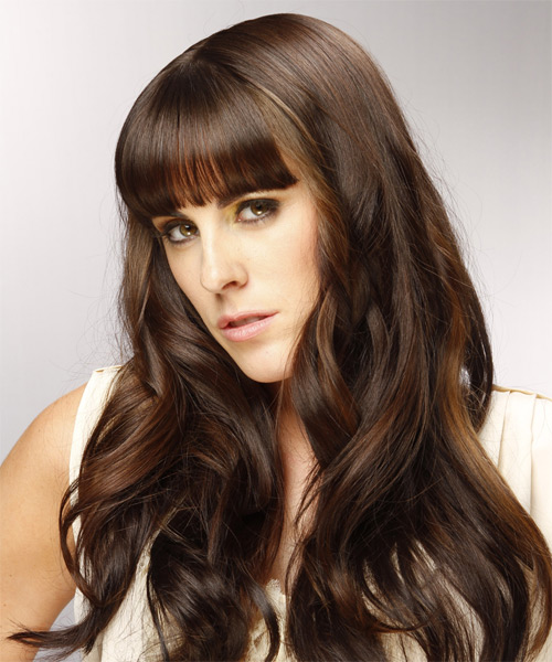 Long Wavy Formal   Hairstyle with Blunt Cut Bangs  - Dark Brunette (Chocolate) - Side on View
