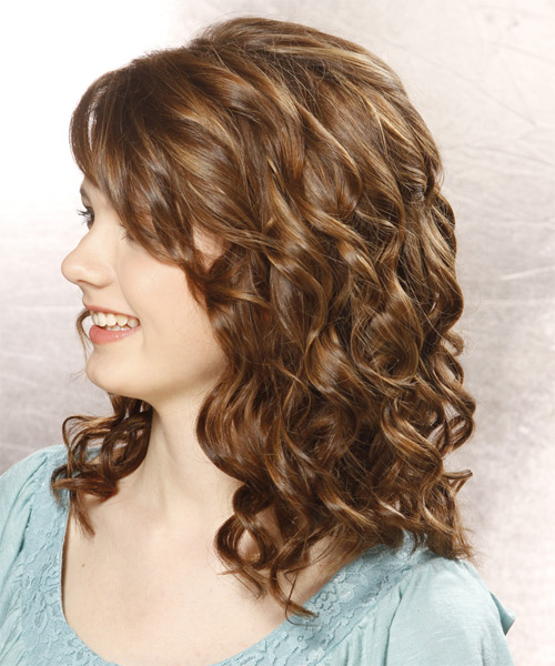 Medium Curly Formal    Hairstyle with Side Swept Bangs  - Medium Chestnut Brunette Hair Color - Side on View