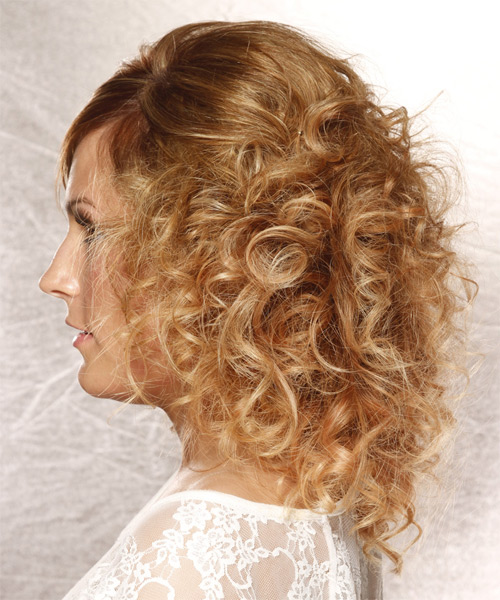Long Curly   Dark Honey Blonde  Half Up Hairstyle with Side Swept Bangs  and  Blonde Highlights - Side on View