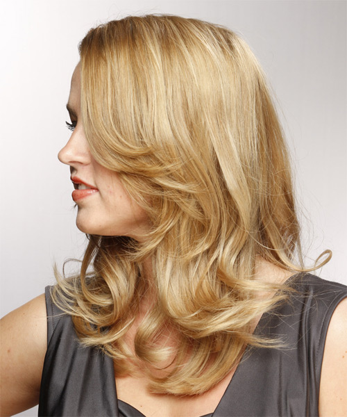 Long Straight Formal   Hairstyle   - Medium Blonde (Champagne) - Side on View