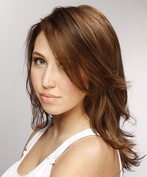 Medium Wavy   Light Brunette   Hairstyle with Side Swept Bangs  - Side on View