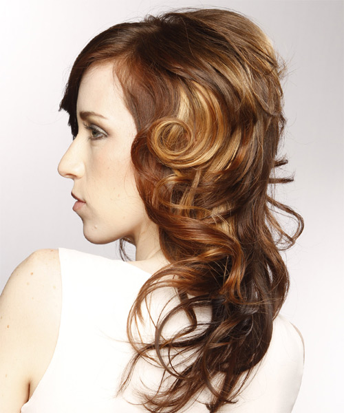 Long Curly Formal   Hairstyle with Side Swept Bangs  - Light Brunette (Chestnut) - Side on View