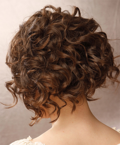 Short Curly Formal   Hairstyle   - Medium Brunette - Side on View