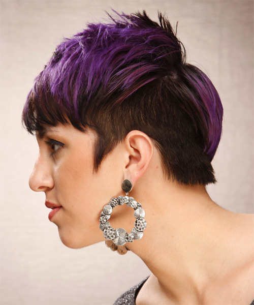 Short Straight Alternative Emo  Hairstyle with Side Swept Bangs  - Dark Brunette - Side on View
