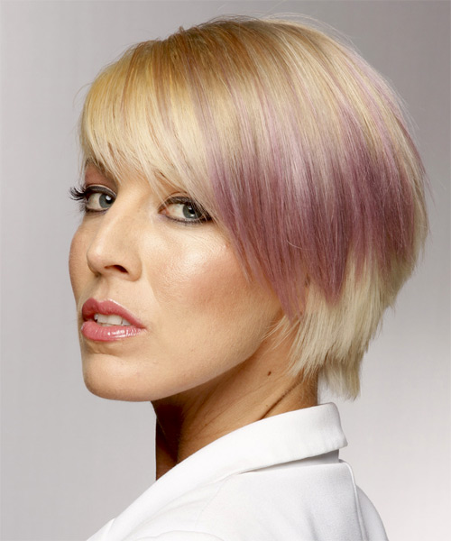 Short Straight Casual    Hairstyle with Side Swept Bangs  and Purple Two-Tone - Side on View