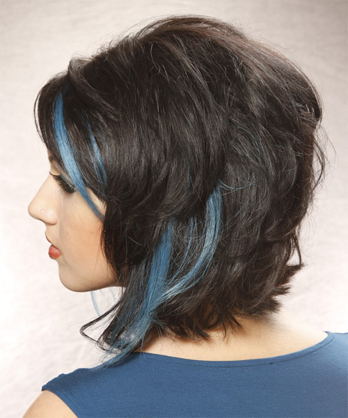 Medium Wavy Casual   Hairstyle   - Blue - Side on View