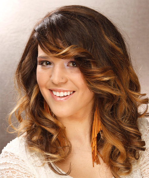 Long Wavy Formal   Hairstyle with Side Swept Bangs  - Medium Brunette - Side on View