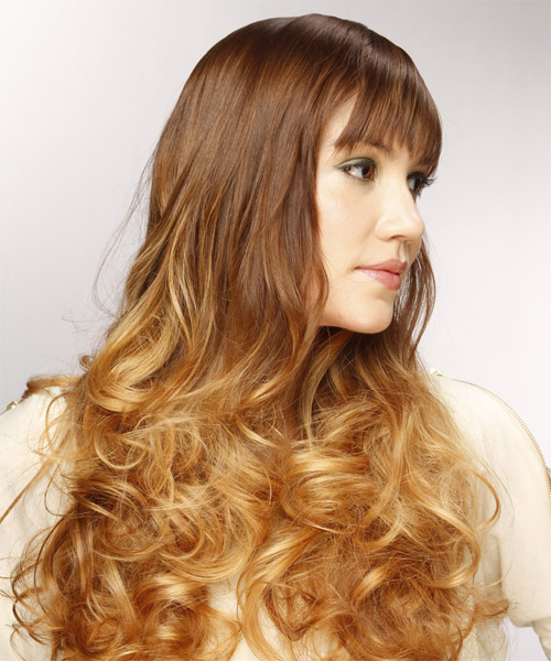 Long Curly Formal   Hairstyle with Layered Bangs  - Light Brunette - Side on View