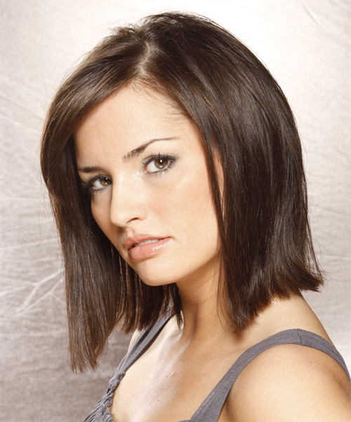 Medium Straight Casual Bob  Hairstyle with Side Swept Bangs  - Dark Brunette - Side on View