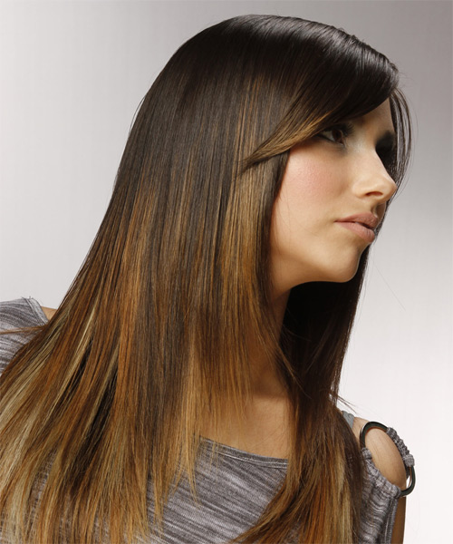 Long Straight Formal   Hairstyle with Side Swept Bangs  - Dark Brunette (Golden) - Side on View