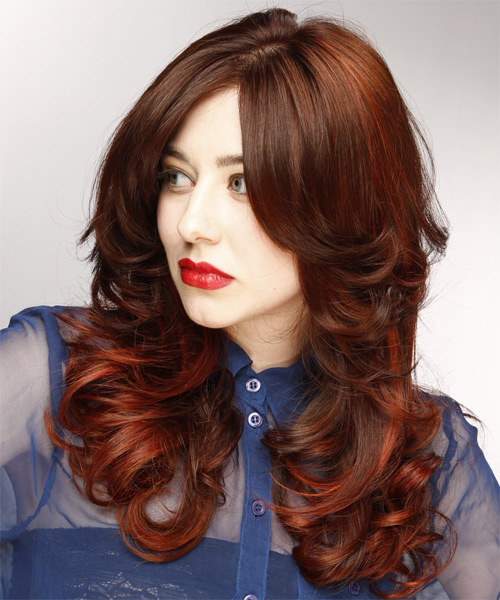 Long Wavy    Chocolate Brunette   Hairstyle with Side Swept Bangs  and Dark Red Highlights - Side on View