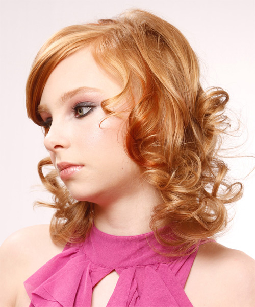 Medium Curly Formal    Hairstyle with Side Swept Bangs  - Light Ginger Red Hair Color with Medium Red Highlights - Side on View