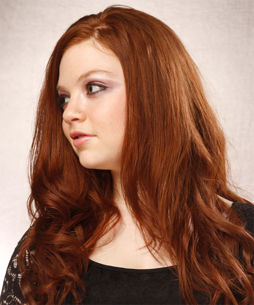Long Wavy Casual   Hairstyle   - Medium Red (Copper) - Side on View