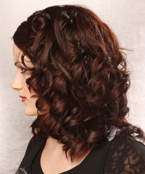 Medium Curly Formal   Hairstyle   - Dark Red (Burgundy) - Side on View