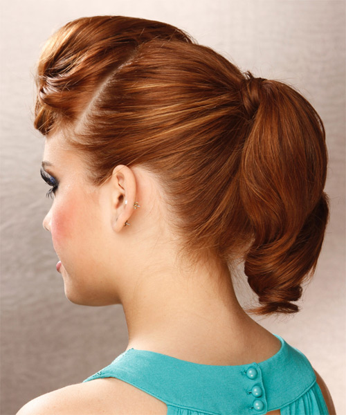 Long Curly    Copper Red  Updo    - Side on View