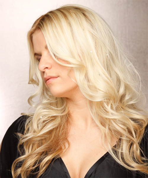 Long Wavy Formal   Hairstyle   - Light Blonde - Side on View