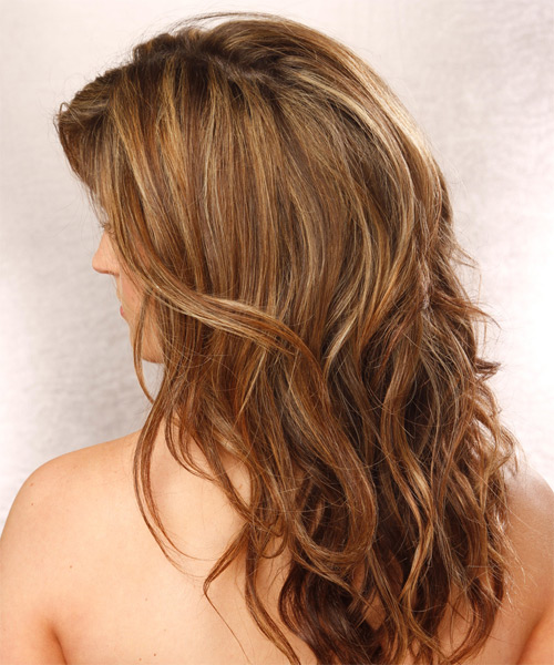 Long Straight Casual   Hairstyle   - Medium Brunette (Chestnut) - Side on View