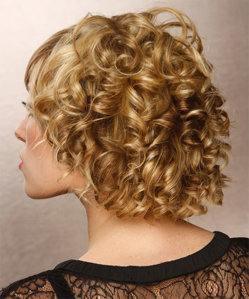 Short Curly   Dark Golden Blonde   Hairstyle   with Light Blonde Highlights - Side on View