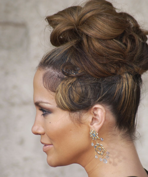 Jennifer Lopez  Long Curly Formal   Updo Hairstyle   - Side on View