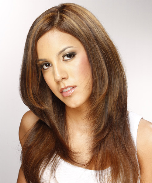 Long Straight Formal   Hairstyle   - Medium Brunette (Chestnut) - Side on View